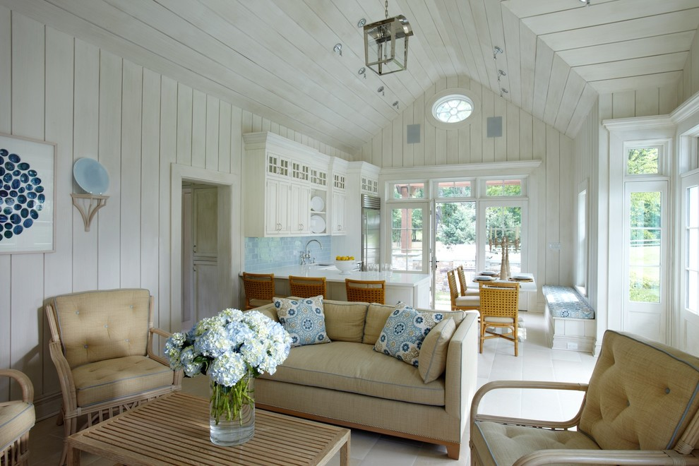 Inspiration for a coastal open concept living room remodel in New York with white walls
