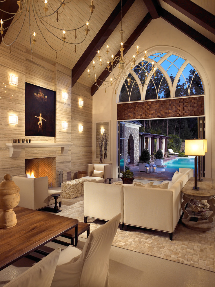 Living room - transitional open concept living room idea in Nashville with a standard fireplace