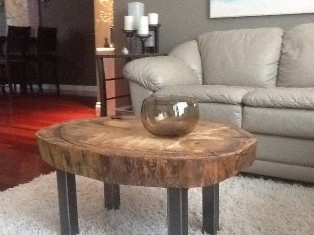 Poplar cookie coffee table eclectic living room Eclectic coffee table makeovers