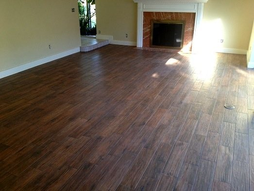 Porcelain Plank Wood Look Tile Installations Tampa, Florida  traditional-living-room - Porcelain Plank Wood Look Tile Installations Tampa, Florida