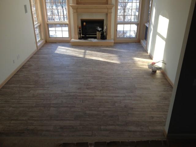 Porcelain Wood Plank Tile 6 X 36 Contemporary Living Room O