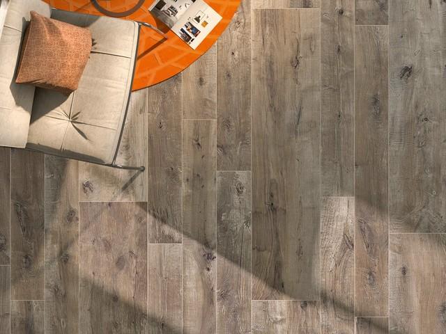 porcleain wood tile craftsman living room - Wood Tile Living Room