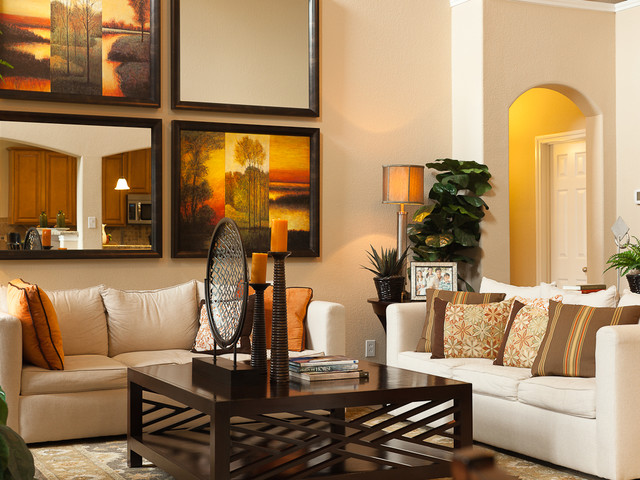 Trendy Living Room Photo In Houston With Beige Walls