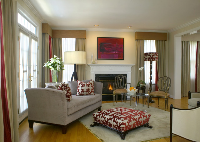 Living Room Red Cream Black Gray