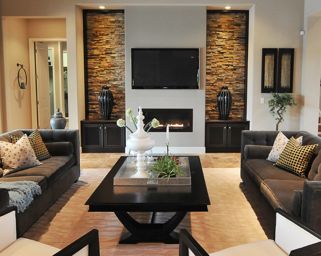 Trendy Living Room Photo In Orlando With Gray Walls, A Ribbon Fireplace And  A Wall