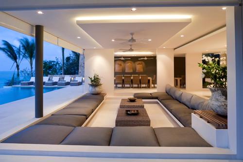 Livig Room with Gypsum Ceiling Design