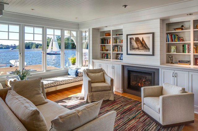 Inspiration for a beach style living room remodel in Seattle