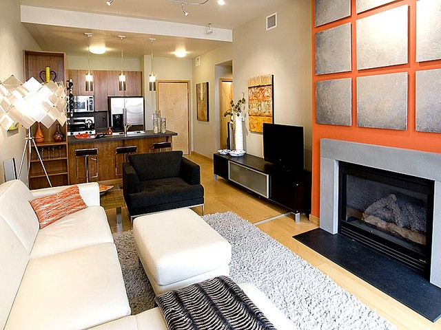 Portland Pearl District Condo Living Room & Fireplace with Custom Wall Treatment contemporary living room