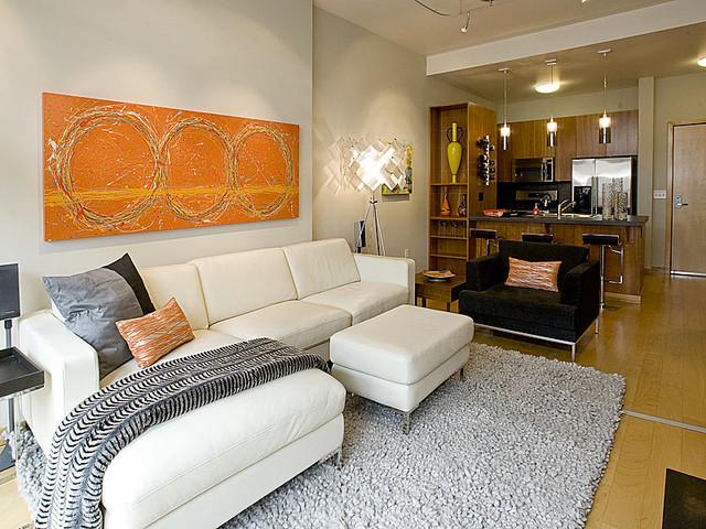 Portland Pearl District Condo Living Room & Kitchen ...