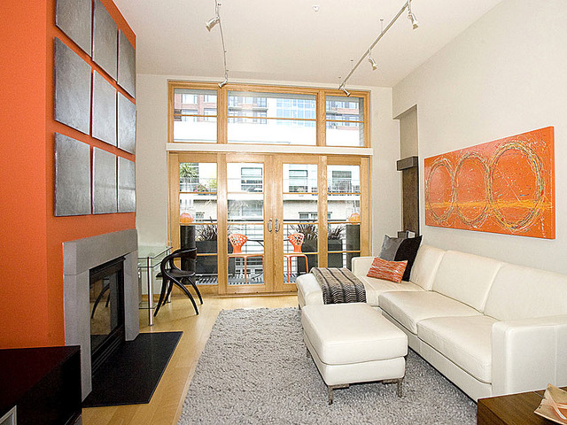 narrow living room contemporary living room by pangaea interior design portland or