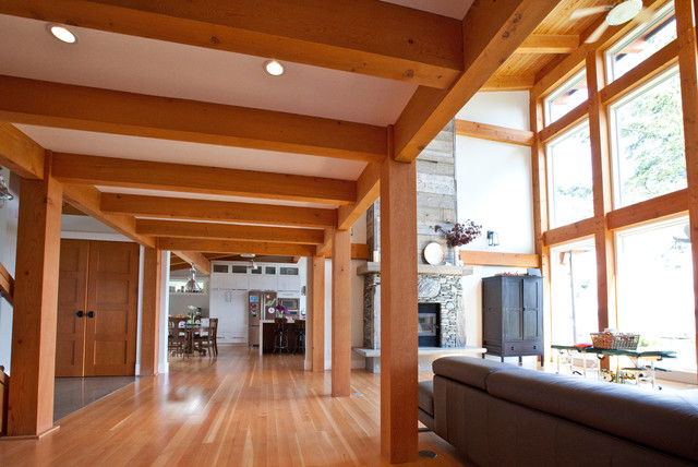 Post And Beam Hallway Contemporary Living Room