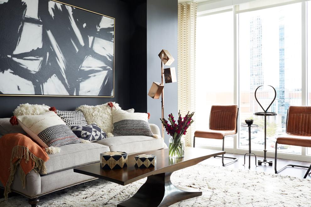 Living room - mid-sized contemporary living room idea in Atlanta with black walls