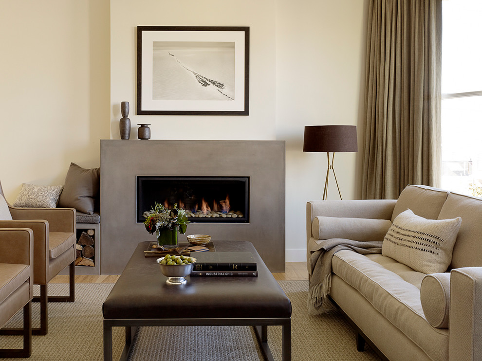 Example of a trendy living room design in San Francisco with a concrete fireplace