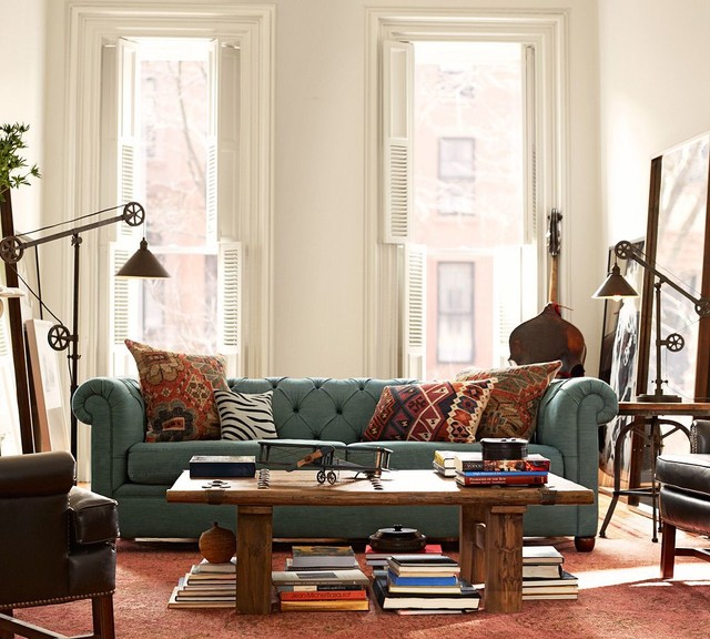 Pottery Barn Living Room With Carpet And Decorative Plant: Pottery Barn