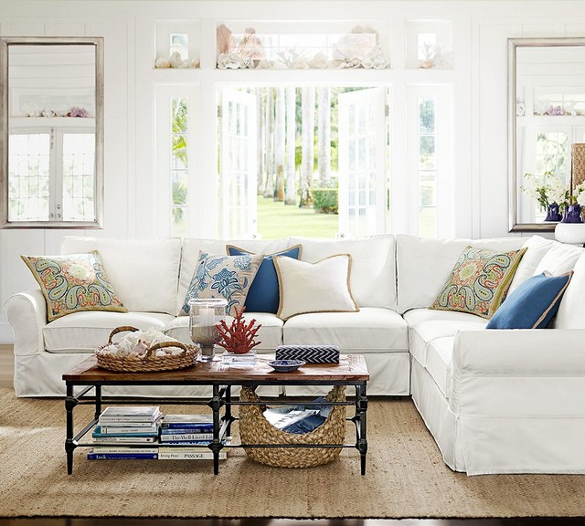 pottery barn transitional living room