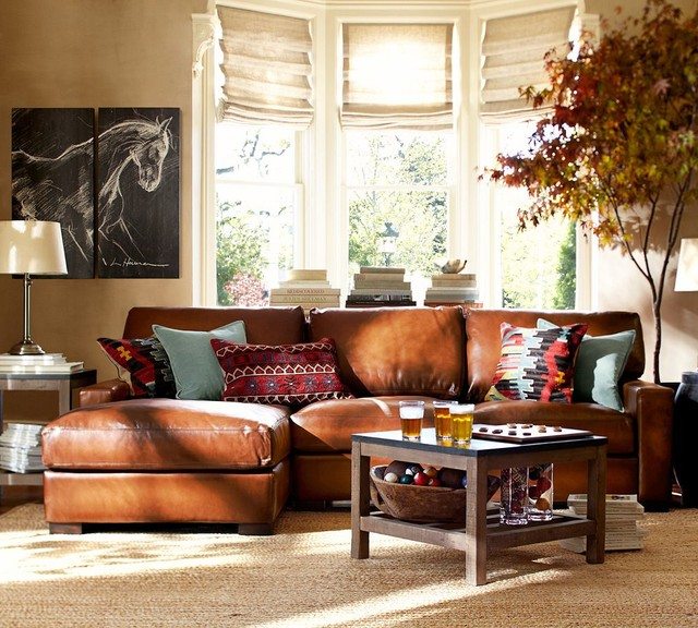 Pottery barn for Traditional living room ideas with leather sofas