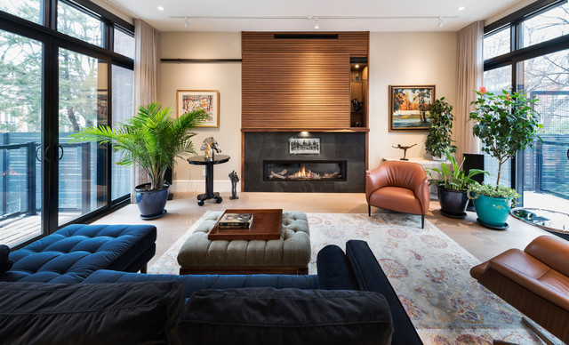A Sliding Door Hides The Tv In This Attractive Living Room