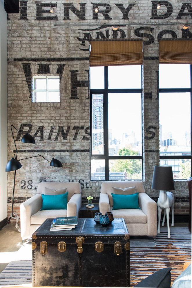 Inspiration for an industrial open concept living room remodel in Vancouver