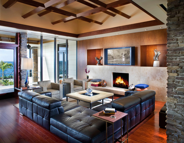 Prairie Style Home Contemporary Living Room Tampa