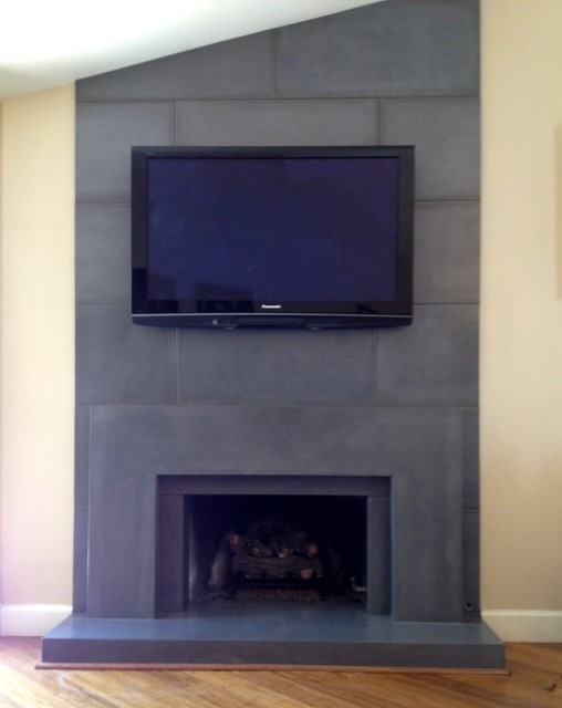 Precast Concrete Fireplace Surround Contemporary Living Room Other Metro By Opusconcrete