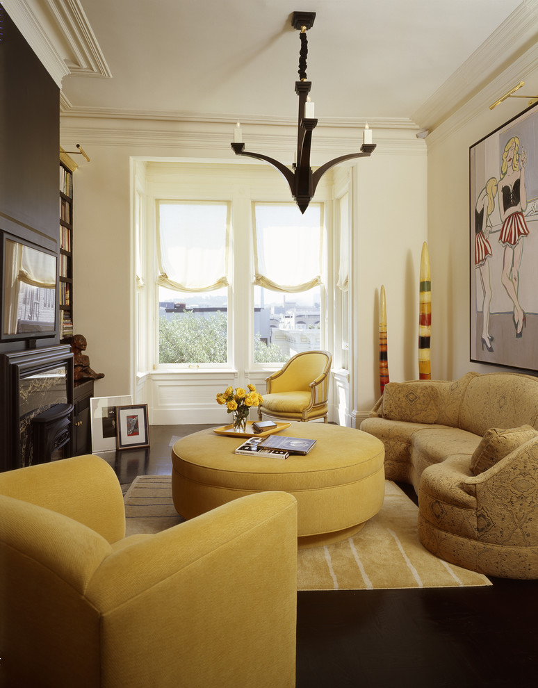 Living room - mid-sized eclectic enclosed living room idea in Other with a media wall