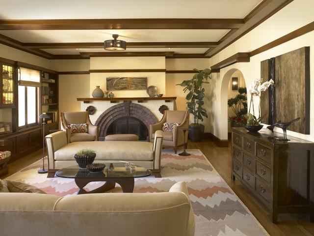 Presidio Heights Pueblo Revival - Living southwestern-living-room