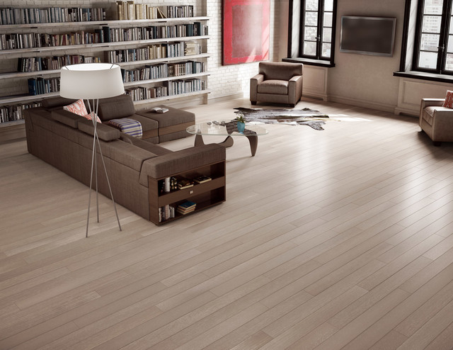 Preverco White Oak Quartersawn Brushed Texture Broadway Colour Contemporary Living Room
