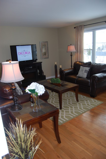 Private client home staging transitional living room for Decoria interior designs