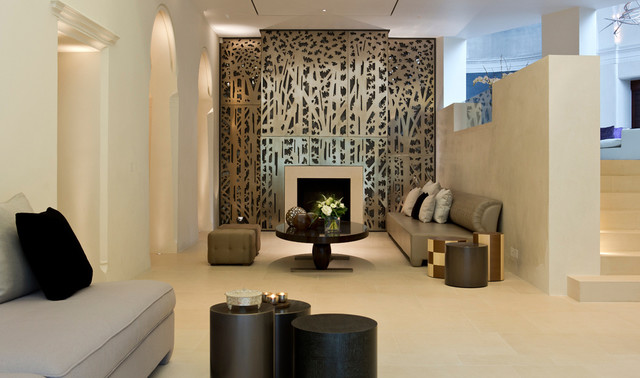 Private house london contemporary living room london - Living room feature wall wallpaper ...