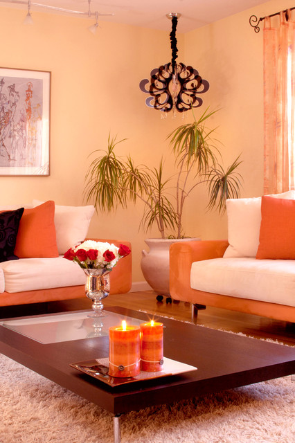 Design inspiration painting walls in shades of melon for Living room ideas orange