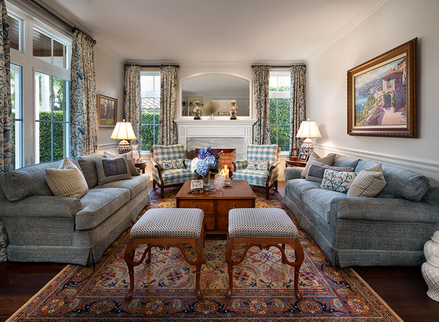 Private residence in british colonial style traditional living room mia - Salon style colonial ...
