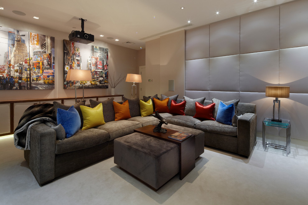 Living room - mid-sized contemporary open concept carpeted living room idea in London with beige walls