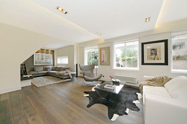 inspiration for a contemporary living room remodel in london - Open Plan Living Room Pictures