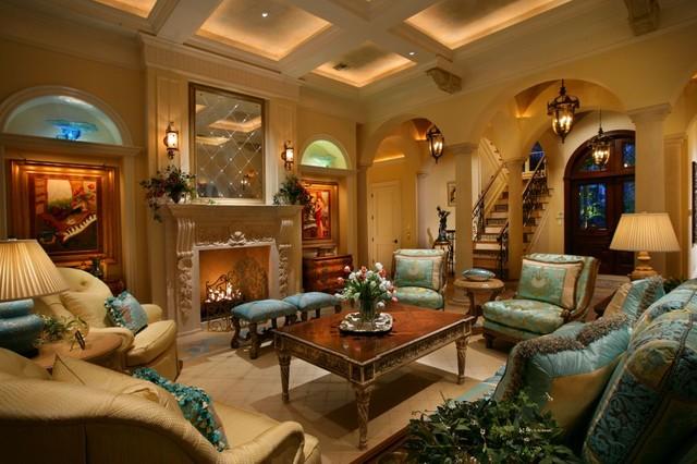 Private Residence Naples Florida Mediterranean Living Room