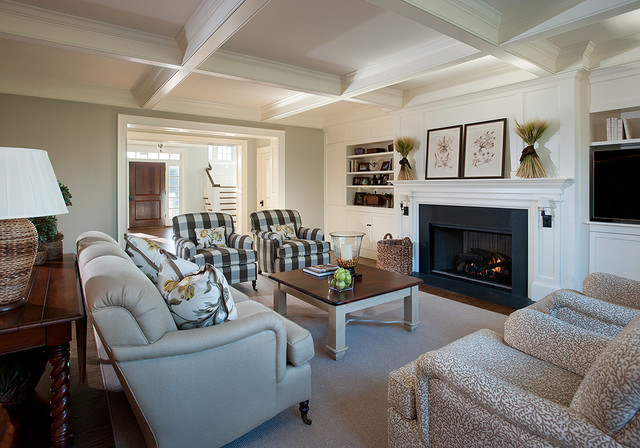 plaid living room furniture. Large elegant formal and enclosed carpeted gray floor living room photo  in Philadelphia with white Plaid Chairs Houzz