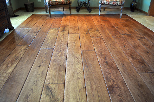 Private residence reclaimed oak flooring traditional for Reclaimed hardwood flooring