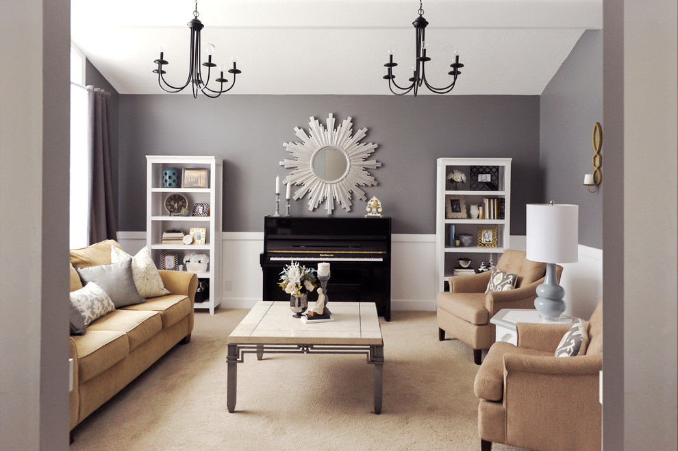 Living room - transitional living room idea in Salt Lake City with gray walls