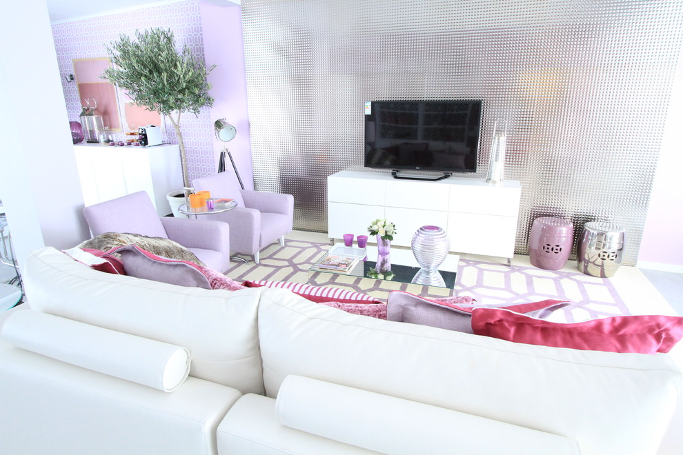 Example of a trendy formal and open concept living room design in Other with a tv stand