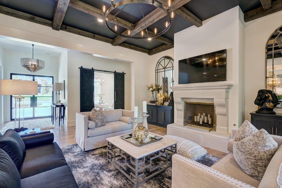 Living room - modern living room idea in Oklahoma City