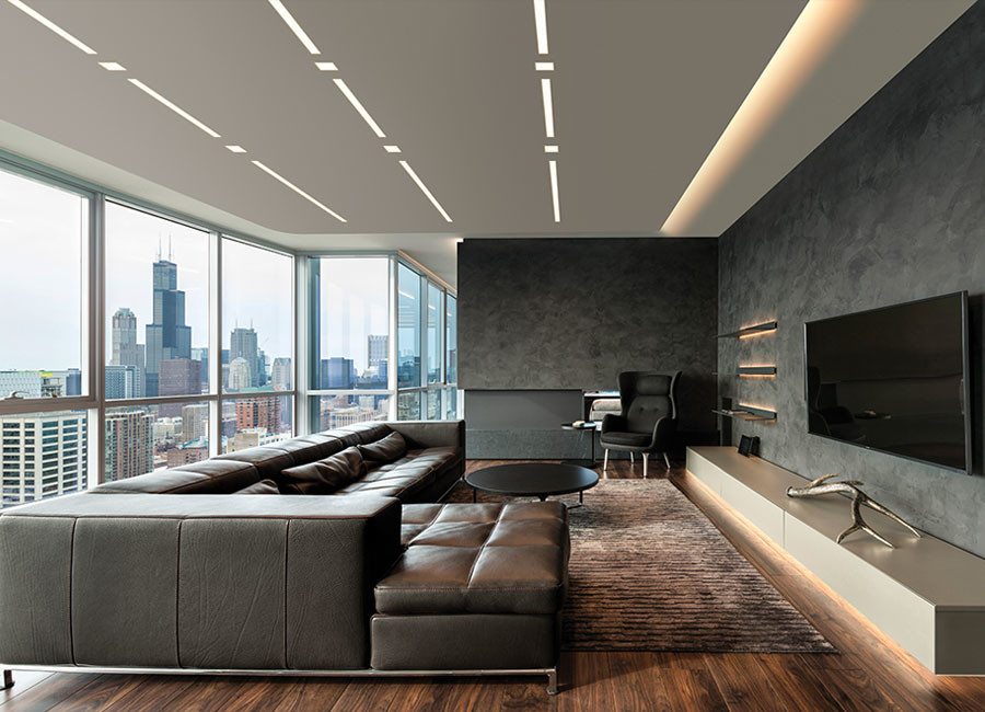 Large minimalist open concept dark wood floor and brown floor living room photo in Miami with black walls, no fireplace and a wall-mounted tv