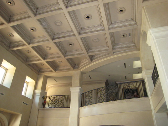 Provencal Plaster Walls And Wood Inlaid Ceiling Panels