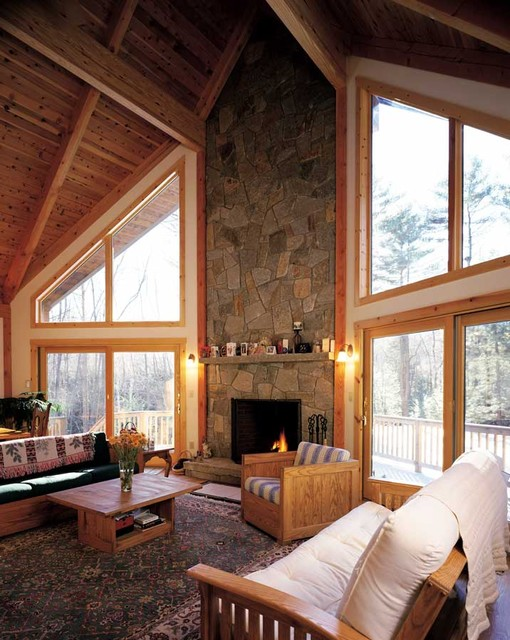 Prow in the woods contemporary living room boston for Contemporary post and beam house plans