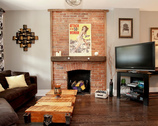 Atrapadas En Libros Living Rooms With Brick Fireplaces Images