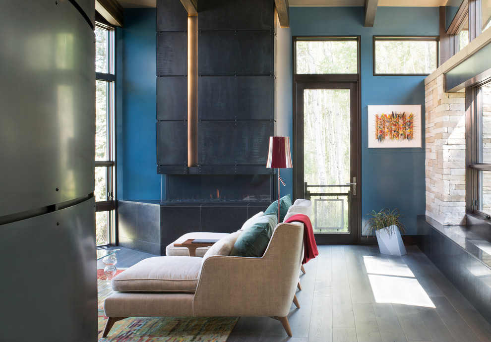 Living room - contemporary living room idea in Denver with blue walls and a metal fireplace