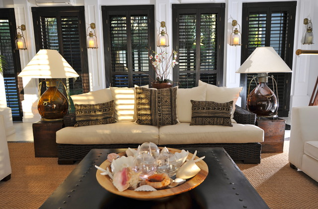 Inspiration For A Tropical Living Room Remodel In Other With White Walls