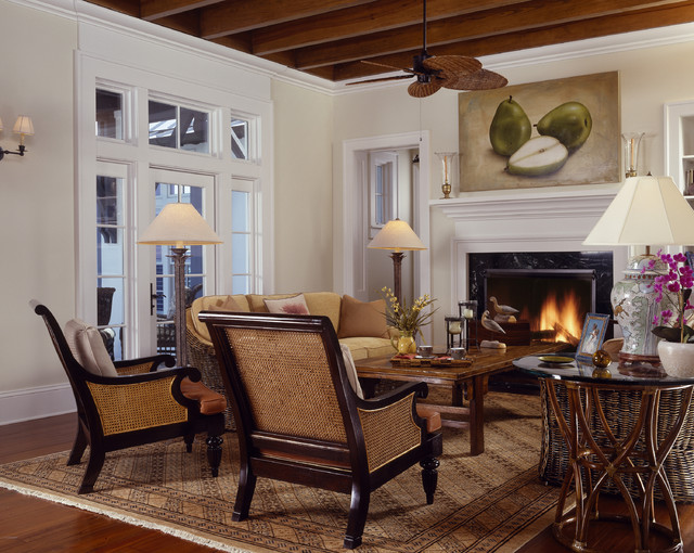 Charmant Island Style Living Room Photo In Tampa With Beige Walls And A Standard  Fireplace