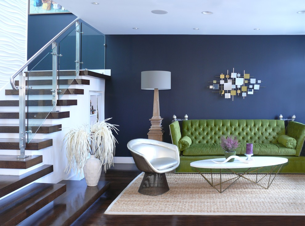 Inspiration for a mid-sized contemporary formal and open concept dark wood floor and brown floor living room remodel in San Francisco with blue walls, no fireplace and no tv