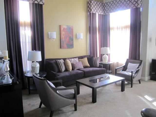 Purple glam whole house interior design project for Glam interior design