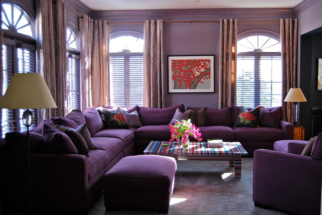 Purple haze modern living room dc metro by david Purple brown living room