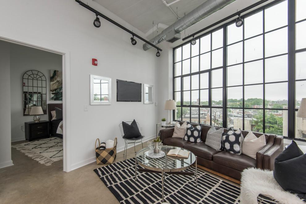Inspiration for an industrial living room remodel in Philadelphia